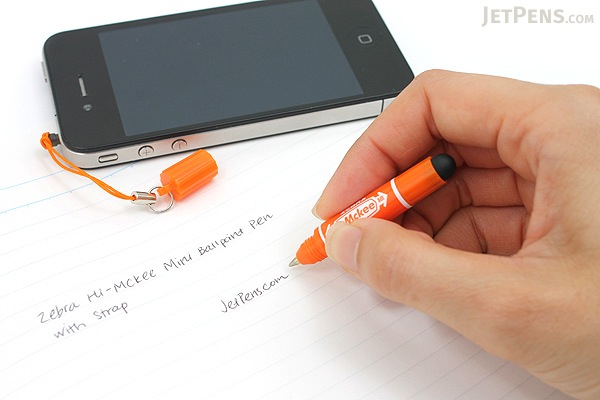 Zebra Hi-Mckee Mini Ballpoint Pen + Stylus with Strap - 0.7 mm - Orange Body - ZEBRA BA83-OR