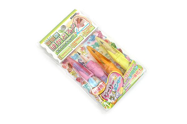 Sonic Mochikata How to Hold Pencil Cap - Pack of 3 - Jelly Glitter Pinky - SONIC SK-456