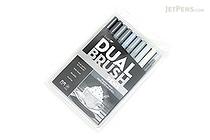 Tombow ABT Dual Brush Pen - 10 Pen Set - Grayscale - TOMBOW 56171