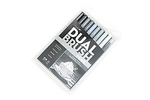 Tombow Dual Brush Pen - 10 Pen Set - Grayscale - TOMBOW 56171