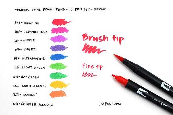 Tombow Dual Brush Pen - 10 Pen Set - Retro - TOMBOW 56157