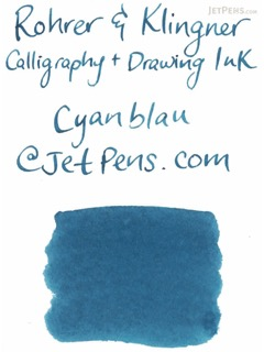Rohrer & Klingner Calligraphy and Drawing Ink - 50 ml Bottle - Cyanblau (Cyan Blue) - ROHRER-KLINGNER 29 703 050
