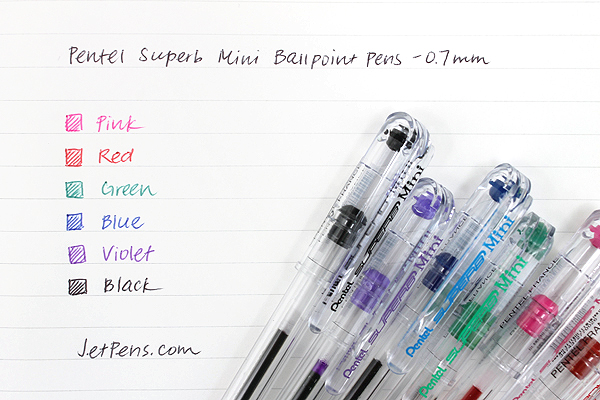 Pentel Superb Mini Ballpoint Pen - 0.7 mm - Pink - PENTEL BK77S-P