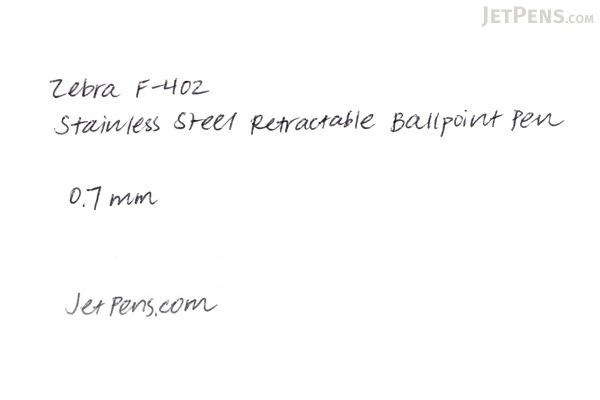 Zebra F-402 Stainless Steel Retractable Ballpoint Pen - 0.7 mm - Black - ZEBRA 29211