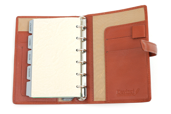 Raymay Davinci System Binder - Leather - Pocket Size - Brown - RAYMAY DP381C