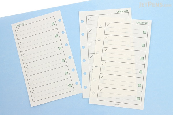 Raymay Davinci Refill Pages - Pocket Size - Check List - 30 Sheets - RAYMAY DPR211