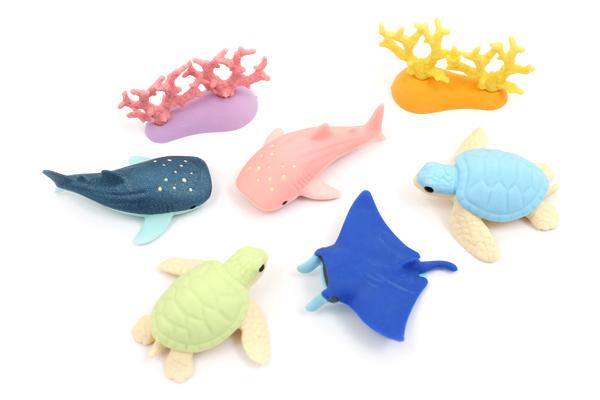 Iwako Aquarium Novelty Eraser - 7 Piece Set - IWAKO ER-BRI031