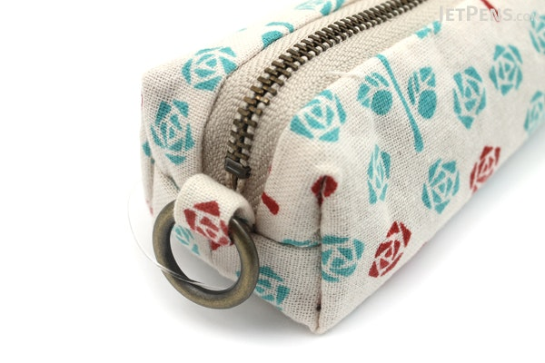 Miyamoto Collection Retro Komon Pen Case - Roses - MIYAMOTO 07306