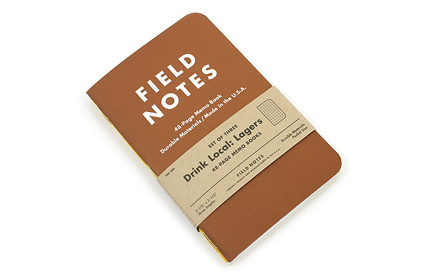 "Field Notes Color Cover Memo Book - Drink Local Limited Edition - Lagers - 3.5"" X 5.5"" - 48 Pages - Graph - Pack of 3 - FIELD NOTES FNC-20B"