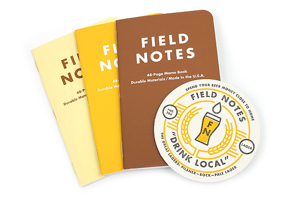 """Field Notes Color Cover Memo Book - Drink Local Limited Edition - Lagers - 3.5"""" X 5.5"""" - 48 Pages - Graph - Pack of 3 - FIELD NOTES FNC-20B"""