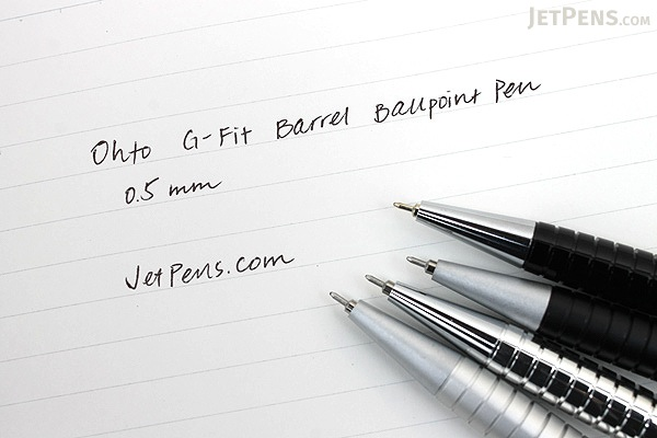 Ohto G-Fit Barrel Ballpoint Pen - 0.5 mm - Glossy Silver Body - OHTO NBP-405GFB SILVER PIKA