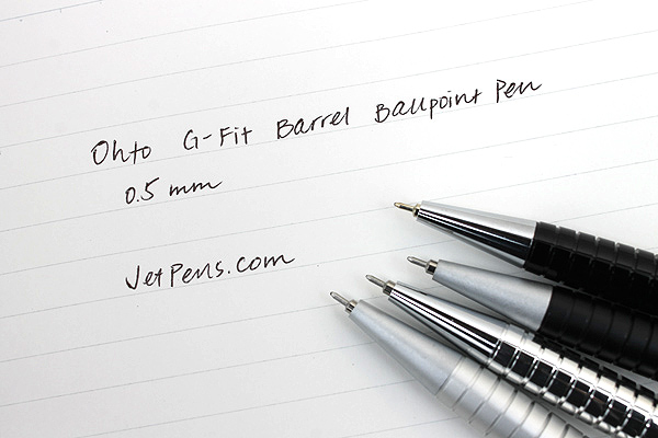 Ohto G-Fit Barrel Ballpoint Pen - 0.5 mm - Glossy Black Body - OHTO NBP-405GFB BLACK PIKA