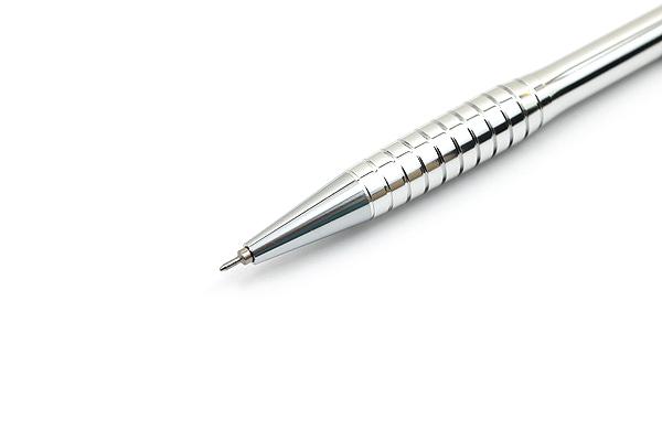 Ohto G-Fit Barrel Ballpoint Pen - 0.5 mm - Glossy Silver Body - OHTO NBP-405GFB SILVER PIKA