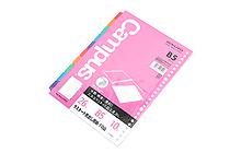 Kokuyo Campus Dividers with Laminated Index Tabs - B5 - 26 Holes - 10 Dividers - KOKUYO NO-989