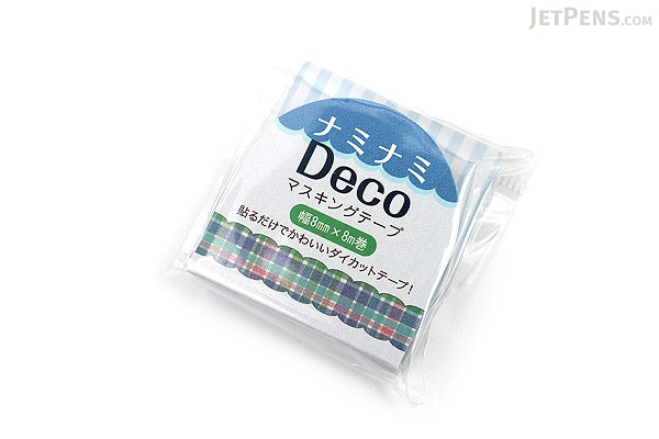 Pine Book Nami Nami Deco Washi Tape - 8 mm - Plaid Blue - PINE BOOK TM00109