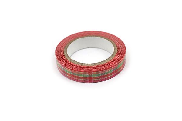 Pine Book Nami Nami Deco Washi Tape - 8 mm - Plaid Red - PINE BOOK TM00108