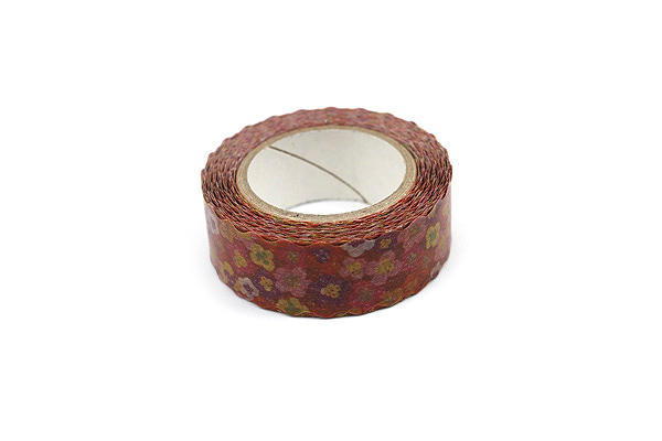 Pine Book Nami Nami Washi Tape - 15 mm - Retro Flower Red - PINE BOOK TM00013