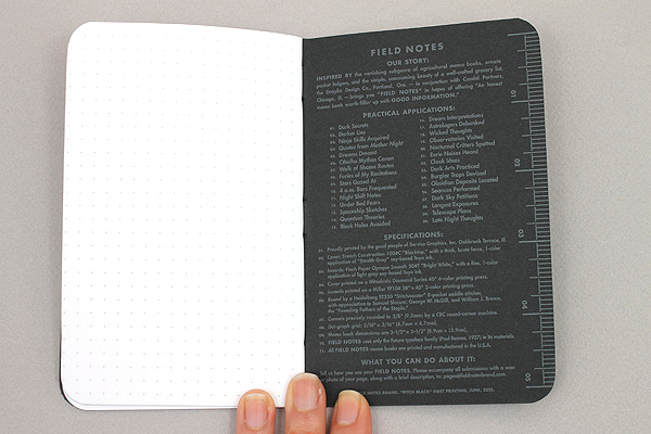 """Field Notes Color Cover Memo Book - Pitch Black - 3.5"""" X 5.5"""" - 48 Pages - 5 mm Dot Grid - Pack of 3 - FIELD NOTES FN-21"""