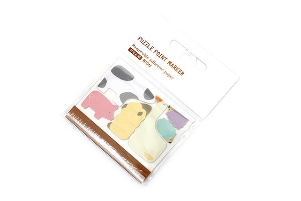 Midori Puzzle Point Marker Adhesive Notes - Farm Animals - MIDORI 11725-006