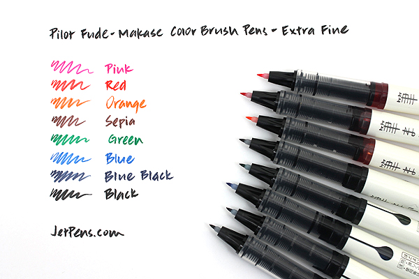 Pilot Fude-Makase Color Brush Pen - Extra Fine - 8 Color Bundle - JETPENS PILOT SVFM-20EF BUNDLE