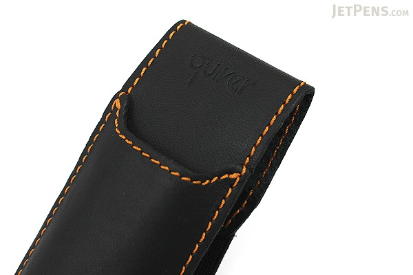 Quiver Double Pen Holder for A5 Large Notebooks - Black with Orange Stitching - QUIVER RLH-2-101-BLK-ORG