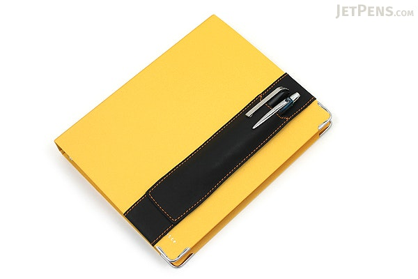 Quiver Double Pen Holder for A5 Large Notebooks - Black with Yellow Stitching - QUIVER RLH-2-101-BLK-YLW
