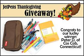 Pen Perks: JetPens Thanksgiving Cornucopia Giveaway Winner