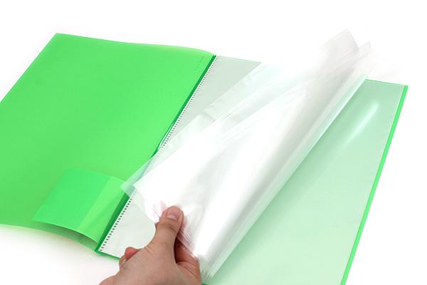 Kokuyo Novita Alpha Pocket File - A4 - 12 Pockets - Light Green - KOKUYO RA-NF12LG