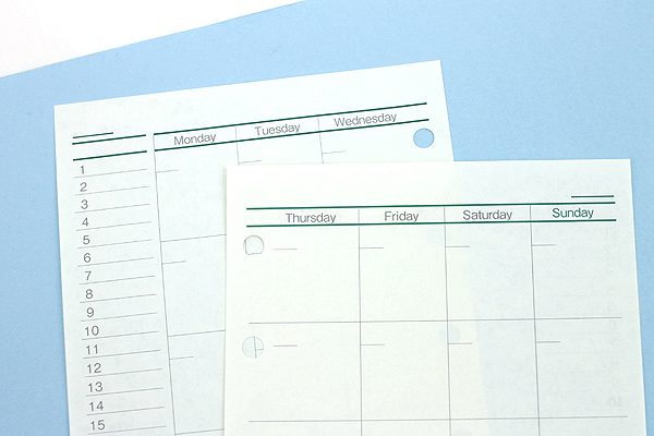 Raymay Davinci Refill Pages - Pocket Size - Free Monthly Schedule A - 30 Sheets - RAYMAY DPR206
