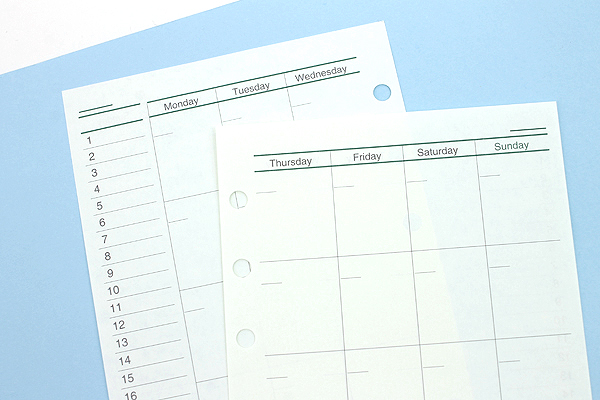 Raymay Davinci Refill Pages - Bible/Personal Size - Free Monthly Schedule A - 30 Sheets - RAYMAY DR274