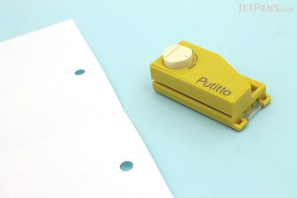 Carl Putitto Portable 2-Hole Punch - Yellow - CARL PP-01-Y