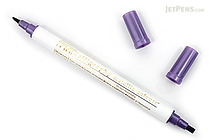 Kuretake Zig Calligraphy Metallic Double-Sided Marker Pen - 2 mm / 3.5 mm - Violet - KURETAKE MS-8400-124