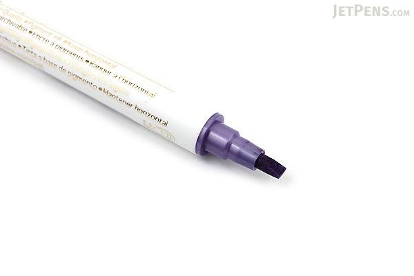 Kuretake Zig Calligraphy Metallic Double-Sided Marker Pen - 2 mm / 3.5 mm - Violet - KURETAKE MS-8400-124