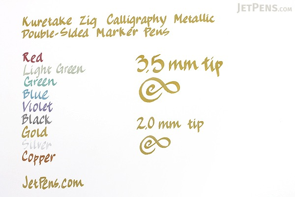 Kuretake Zig Calligraphy Metallic Double-Sided Marker Pen - 2 mm / 3.5 mm - Silver - KURETAKE MS-8400-102