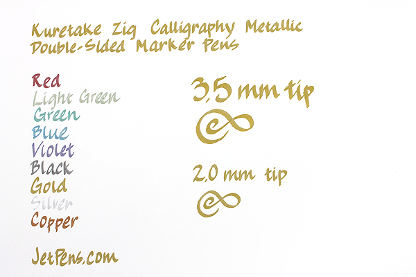 Kuretake Zig Calligraphy Metallic Double-Sided Marker Pen - 2 mm / 3.5 mm - Blue - KURETAKE MS-8400-125