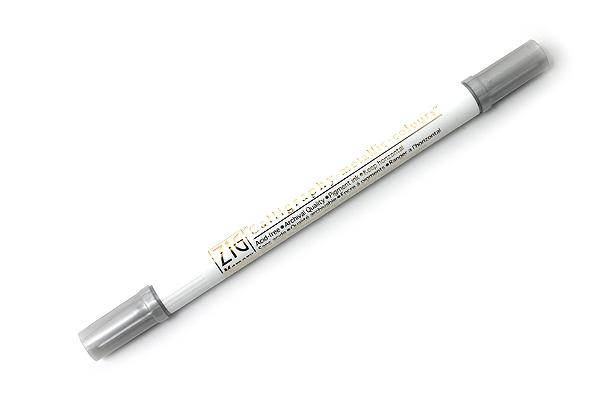 Kuretake Zig Calligraphy Metallic Double-Sided Marker Pen - 2 mm / 3.5 mm - Silver - KURETAKE MS-8400-102