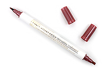 Kuretake Zig Calligraphy Metallic Double-Sided Marker Pen - 2 mm / 3.5 mm - Red - KURETAKE MS-8400-126