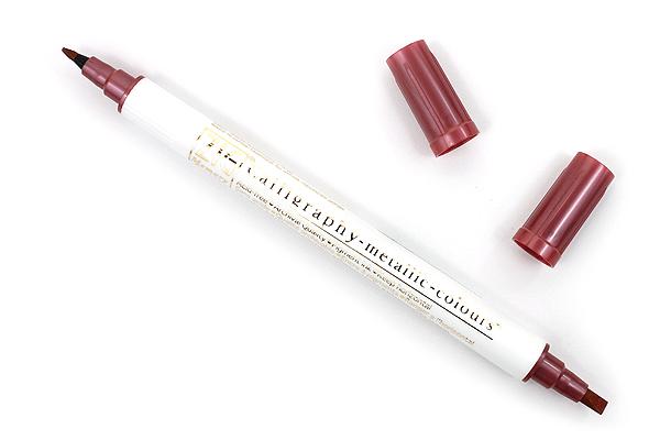 Kuretake Zig Calligraphy Metallic Double-Sided Marker Pen - 2 mm / 3.5 mm - Red - KURETAKE MS-8400-126