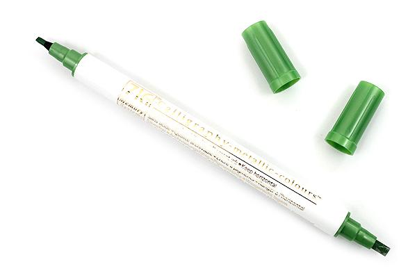 Kuretake Zig Calligraphy Metallic Double-Sided Marker Pen - 2 mm / 3.5 mm - Light Green - KURETAKE MS-8400-128
