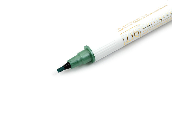 Kuretake Zig Calligraphy Metallic Double-Sided Marker Pen - 2 mm / 3.5 mm - Green - KURETAKE MS-8400-121