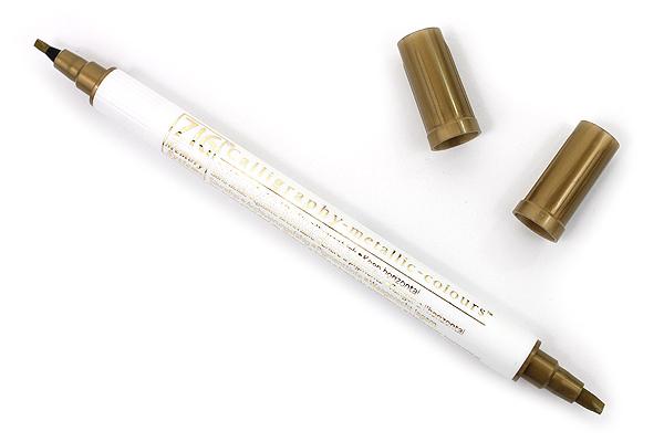 Kuretake Zig Calligraphy Metallic Double-Sided Marker Pen - 2 mm / 3.5 mm - Gold - KURETAKE MS-8400-101