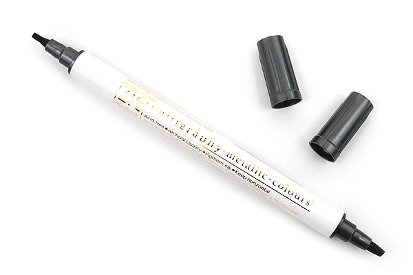 Kuretake Zig Calligraphy Metallic Double-Sided Marker Pen - 2 mm / 3.5 mm - Black - KURETAKE MS-8400-127