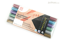 Kuretake Zig Calligraphy Metallic Double-Sided Marker Pen - 2 mm / 3.5 mm - 6 Color Set - KURETAKE MS-8400/6V