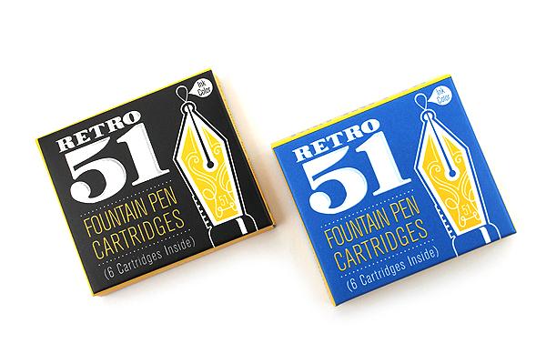 Retro 51 Fountain Pen Ink Cartridge - Pack of 6 - Black - RETRO 51 REF2