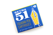 Retro 51 Fountain Pen Ink Cartridge - Pack of 6 - Blue - RETRO 51 REF27