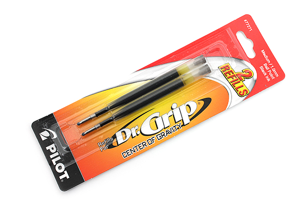 Pilot Dr. Grip Center of Gravity Ballpoint Pen Refill - 1.0 mm Medium Point - Black - Pack of 2 - PILOT 77271