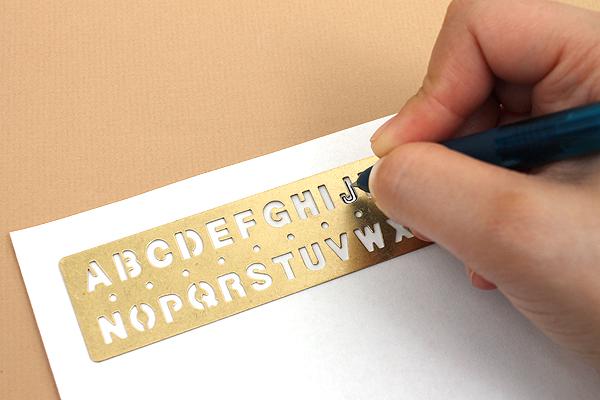 Midori Brass Template Bookmark - Alphabet - MIDORI 42169-006
