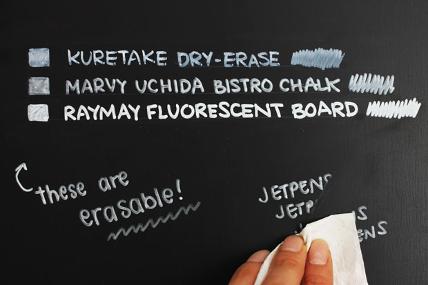 Erasable white ink marker performance on chalkboard