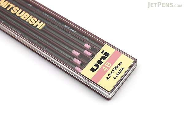 Uni Mitsubishi Lead Holder Refill - 2 mm - 4B - Pack of 6 - UNI ULN4B