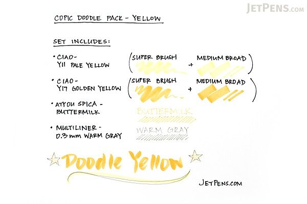Copic Doodle Pack - 4 Pen Set - Yellow - COPIC DPYEL